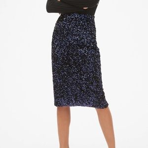 Gap Sequin Skirt - Dark Night - M Tall - NWT